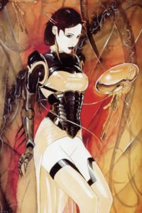 A corseted woman with a short transparent rubber dress stands.