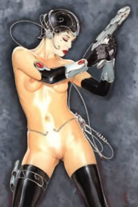 A thin nude woman stands wielding a futuristic pistol.