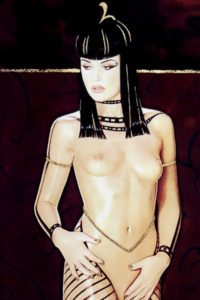 A slender naked woman wears elaborate Egyptian jewelry.