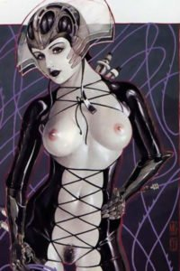A futuristic woman wears a skintight suit with intricate lacing, fully exposing her ghostly pale breasts and more.