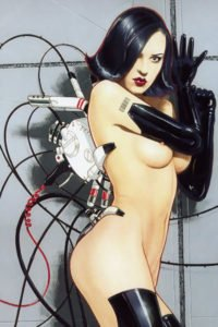 A black-haired woman stands nude with black rubber gloves and a white machine on her back.