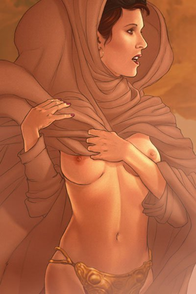 Princess Leia braves a sandstorm in a billowing cloak.