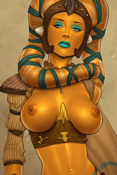 A statuesque orange-skiined Twi'lek woman stands with large exposed breasts.