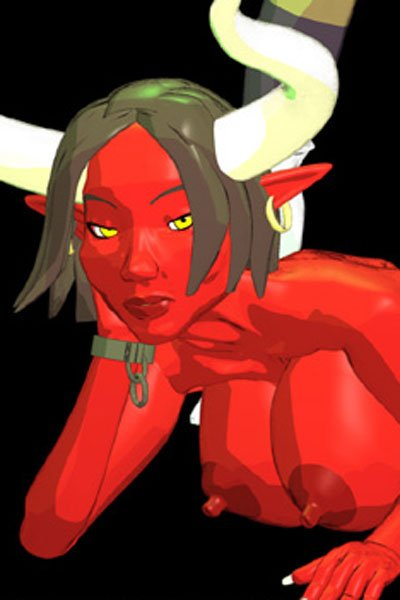 A red-skinned demon with large white horns and tremendous breasts.