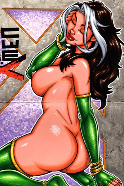 Rogue sits naked, revealing her ample breasts and bare bottom.