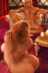 An elf queen writhes naked in front of a naked seated young man.