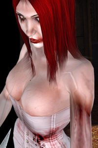A gothic redhead with a misshapen arm wearing a white corset.