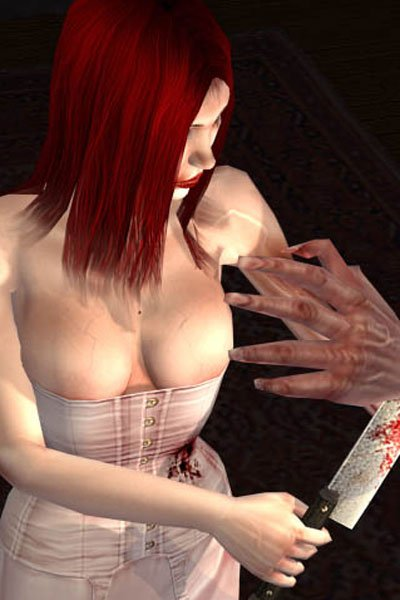 A buxom woman with red hair and  a misshapen arm, wearing a white corset wielding a large knife.