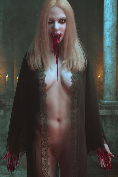 A nude vampire woman with long blond hair wearing an open sheer nightgown, with blood smeared on her face and hands.