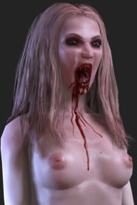 A blond vampire woman with bloody fangs and chest.