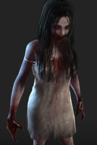 A bloody, grimy zombie girl in a tattered dress.