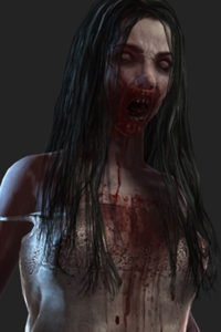 A closeup of a bloody, grimy zombie girl in a tattered dress.