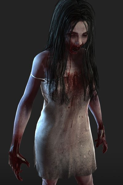 A bloody, grimy zombie girl stands menacingly in a tattered dress.