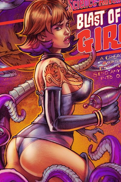 A tattooed woman with large breasts, small antennae and a ray gun is accosted by purple tentacles.