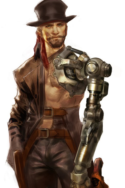 A western gunslinger with a tall hat and  cybernetic arm.