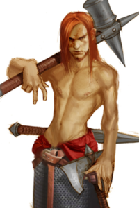 A young viking warrior with long red hair and a big hammer.