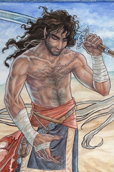 A sinewy, bare-chested man casually carries wields a sword in the desert.