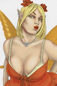 A busty blond fairy with butterfly wings puckers up.