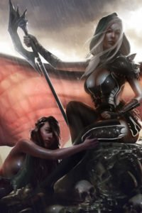 A woman with long white hair and large bat wings sits while another woman lies at her feet.