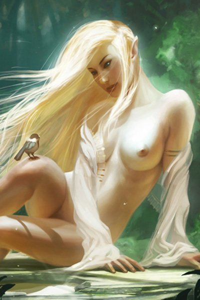 A naked elf woman sits in the forest, admiring a bird on her knee.
