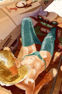 A topless blond woman sits in her cockpit, wearing a green bikini bottom and stockings.