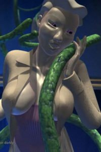 A pale woman with an open trench coat lovingly caresses a green tentacle.