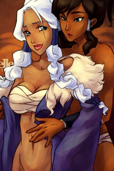 Waterbender Katara tenderly undresses a willing Princes Yue.