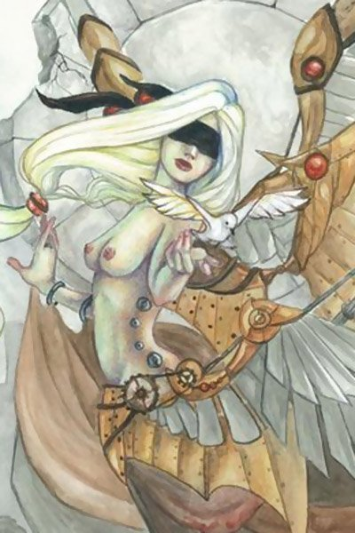 A pale woman with large metallic wings looks at a white bird resting on her outstretched hand.