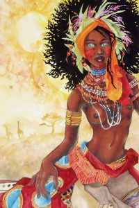 A dark-skinned woman sits with colorful feathers.