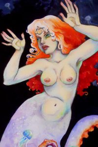 A mermaid woman with octopus tentacles and red hair