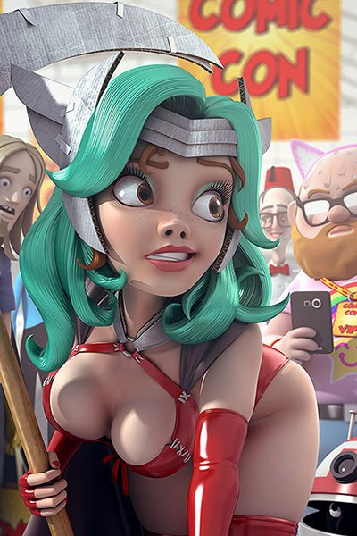 A woman with cyan hair and a skimpy outfit is ogled by convention-goers.