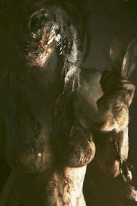 A naked gore-covered woman holds a rabbit's head by the ears.