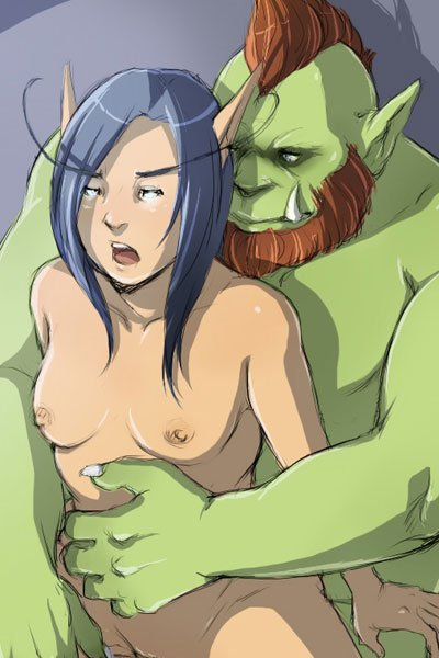 a large green ogre hods a small elf woman from behind.