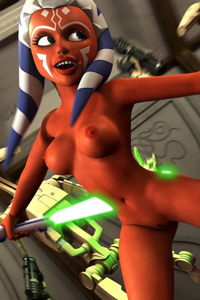 A naked woman with glowing swords and red skin jumps maniacally.