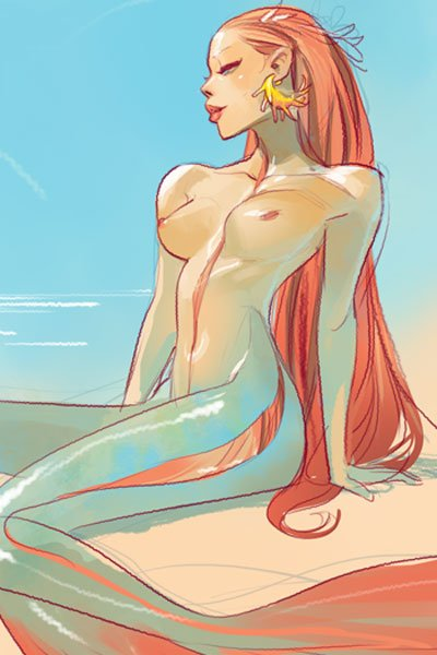 A naked mermaid with long red hair suns herself on the shore.