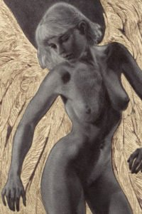 A nude woman with short fair hair and large glowing wings stands and bends.