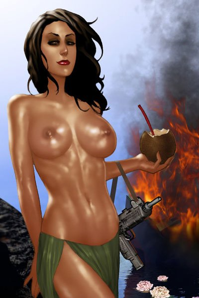 A slender bare-chested woman stands holding a coconut and machine pistol.