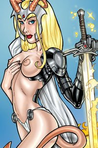 A slender, demonic blonde woman with a flaming sword and breast-baring armor.