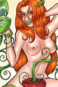 Batman's sexy supervillain Poison Ivy cavorts au naturale with one of her carnivorous plants.