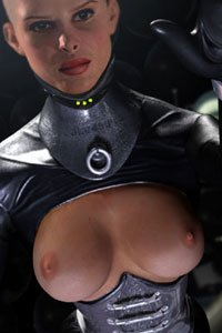A bald women wearing a dark leather suit with bared breasts.