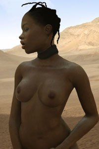 A dark-skinned woman stands naked in the desert.
