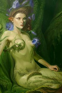 A green fairy woman lies naked in the forest, caressed by vines and flowers.