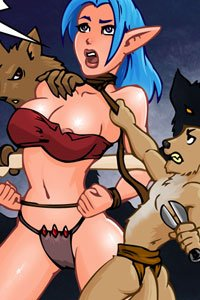 A shapely blue-haired elf is restrained by two small dog creatures.