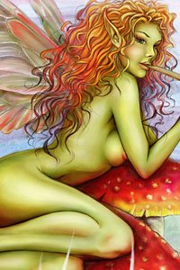 A beautiful green-skinned fairy with long red hair.