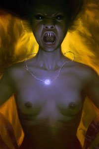 A nude woman wearing a glowing pearl stands, her mouth agape, revealing long sharp teeth.