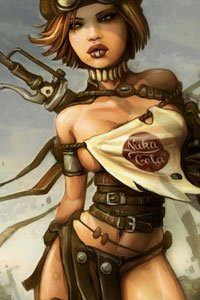 A shapely, well-armed woman in leather and tattered fabric survey's her desolate surroundings.