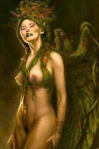 A tall nude woman with green wings stands regally.