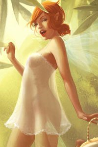 A sexy fairy wearing a transparent dress stands temptingly.