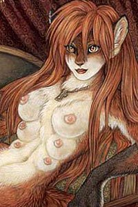 A rust-collored fox woman with multiple pairs of breasts reclines.