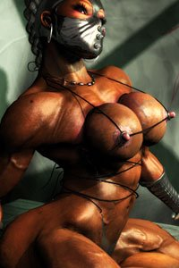 A bronze, muscular woman in strange fetish gear and perky nipples.